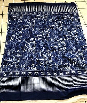 Pareo In Various Blues with Stripes and Floral Prints by Saks Fifth Avenue EUC