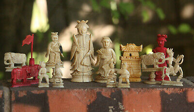 Antique Chinese Chess Pieces late Qing 14 items
