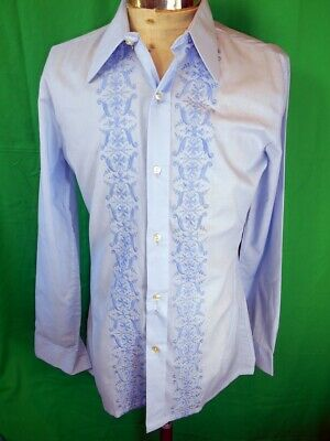 Vintage 1970s Blue Poly/Cotton Embroidered Formal Evening Dress Shirt Prom M