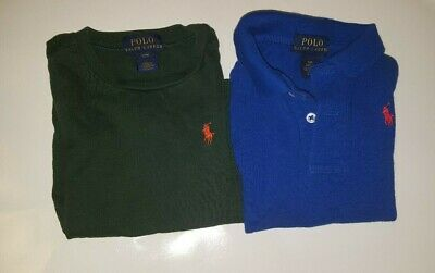 Polo Ralph Lauren Lot of 2 Short Sleeve Shirts Green Blue 9M 12M