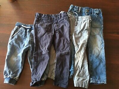 Boys pants size 4 Blue 4 pairs denim and cotton Elastic and button waist