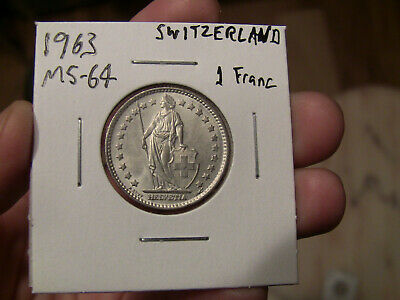 Choice Brilliant Uncirculated BU One Swiss Franc coin 1963 Switzerland