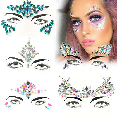 Face Gems Adhesive Glitter Jewel Tattoo Concert Music Festival Rave Party Makeup