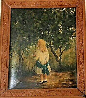 Antique Oil Painting, Original, Child With Doll
