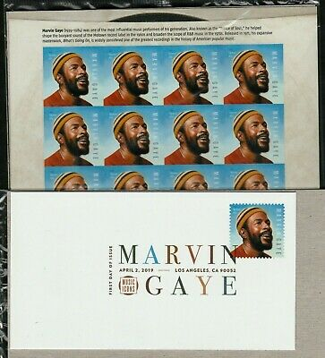 Marvin Gaye 2019 Us #5371 Music Legend 16 Forever Stamp Sheet + Dcp First Day Cv