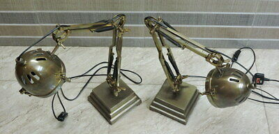 """SET OF 2 Adjustable Large Industrial Desk Lamp - Brown Finish Height 24""""in"""