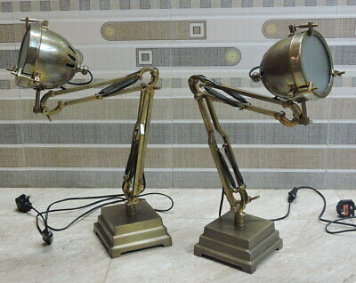 Antique Brown Desk Lamps, Industrial Table Light  For Hotel Decor - SET OF 2