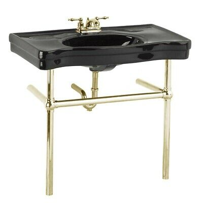 Black Console Sink China Ebony Belle Epoque Deluxe with Brass Bistro Legs