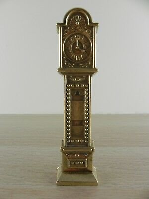 Vintage Polished Brass Miniature Grandfather Clock/English Brass Figurine decor