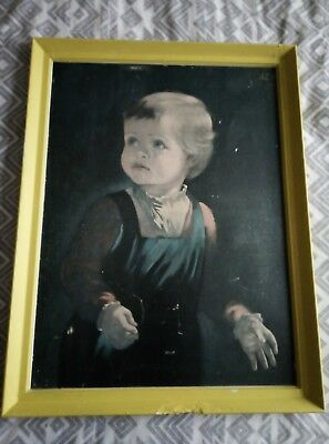 Vintage Retro Kitsch Crying Boy Framed Print Picture