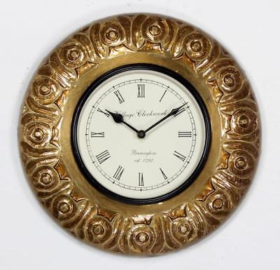 """Antique Vintage Hand Made Ethnic Wooden Brass Finish 12"""" Wall Clock-0052"""