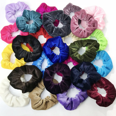 12 LARGE Fashion Velvet Hair Scrunchies Elastic Scrunchy Bobbles ponytail holder