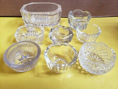 Lot of 8 Antique Salt Dips Cellars Clear Glass Collection