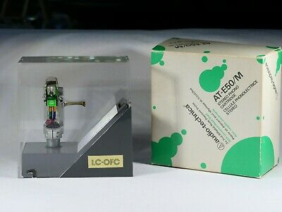 NOS Audio-Technica AT-E50 LC-OFC MM Cartridge w. AT headshell and original box