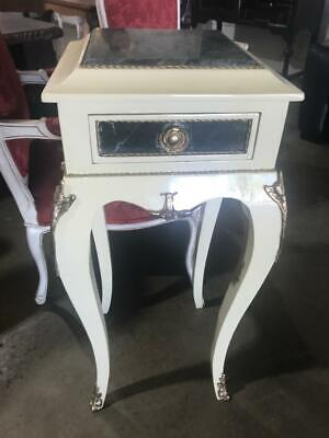 French Louis Xv Style White Mahogany Single Drawer Table With Green Marble Top