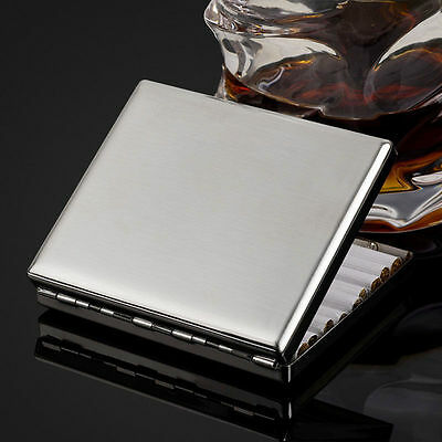 Top Stainless Steel Metal Cigarette Case Holds 20 Cigarettes Fine Father's Gift