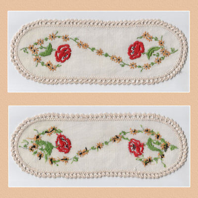 Vintage Red Floral Crochet Edge Hand Embroidered Sandwich Doily 28 x 10