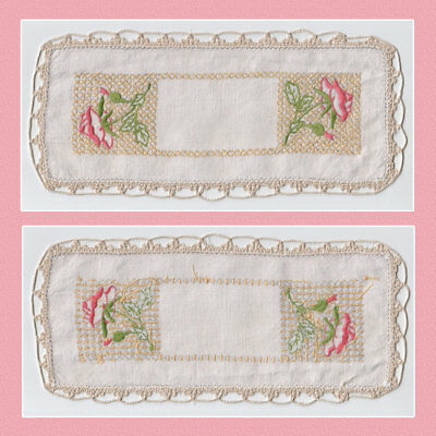 Vintage Hand Embroidered Pink Floral on Cross Stitch Sandwich Doily 26 x 12