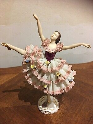ANTIQUE  Dresden Porcelain Lace Ballerina Figurine Made In Western Germany