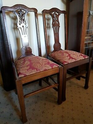 Pair of Edwardian antique blackwood dining chairs