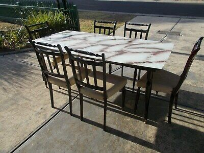 Vintage Retro Art Deco Dining Kitchen Setting Table & 6 Chairs