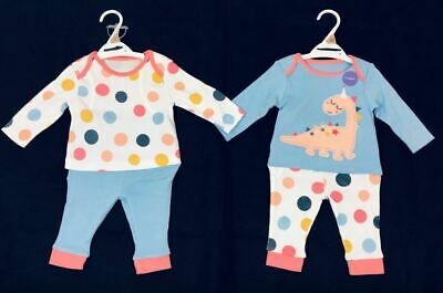 Ex Store Baby Girls Pink Dinosaur Spot Mix & Match 2 Pack Pyjamas 0 3 6 9 12 24