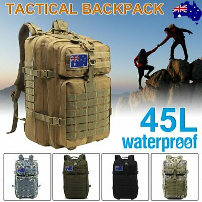 45L Outdoor Military Tactical Backpack Camping Travel Hiking Trekking Bag AU