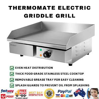 3000W Electric Griddle Grill Hot Plate Cooktop Commercial Stainless Steel