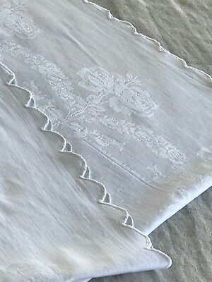 ANTIQUE WHITE LINEN DAMASK TABLECLOTH, SCALLOPS, approx 4' square