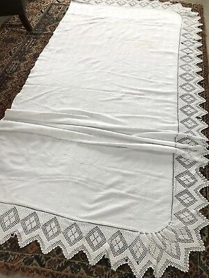 ANTIQUE COTTON JACQUARD CLOTH / COVER huge 3 m with BOBBLE HAND-CROCHET EDGING