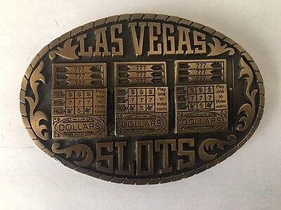 "Vintage 1983 Belt Buckle ""Las Vegas Slots"" #Rs12 Gambling Slot Machines Buckle"