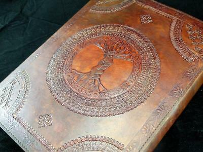 Large HandmadeTREE of LIFE Leather Guest Book, Wedding Album with LOVERS Design