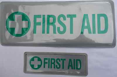 FIRST AID badge (pair), reflective, sew-on, small and mid-size