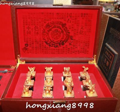 30CM Collection China Natural Green Jade Leisure Game Army Chess Box Statue Set