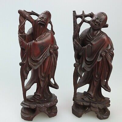 Pair of Antique or Vintage Chinese Wood Carving Figurines - Immortals