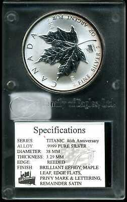 Canada 1998 $5 Uncirculated 1 oz .9999 Silver Maple Leaf Titanic Privy Mark