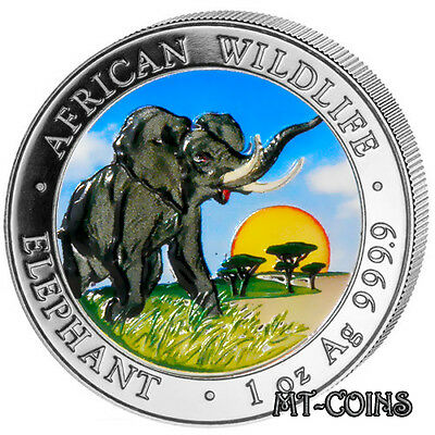 SOMALIA 2009 ELEPHANT African Wildlife 1 Oz COLORED SILVER PROOF COIN -OFFICIAL