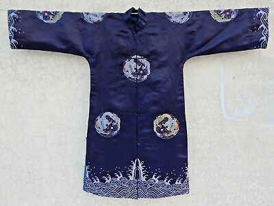 Antique Chinese Hand Embroidery Silk Dragon Robe (X749)