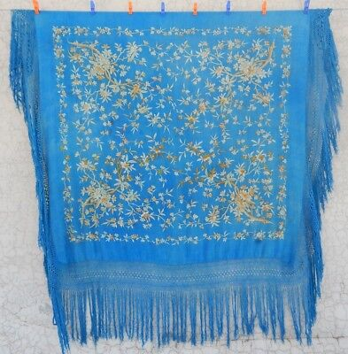 Antique Beautiful Chinese Hand Embroidered Silk Piano Shawl Multi Color (Ps194)