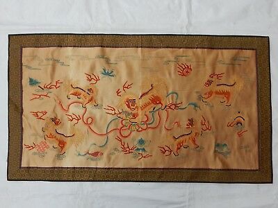 Antique Chinese Hand Embroidery Fu Dog Silk Panel Qing Dynasty 99X55cm (X794)