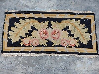 Vintage French Beautiful Hand Made Aubusson Flowers Tapestry 92x45cm