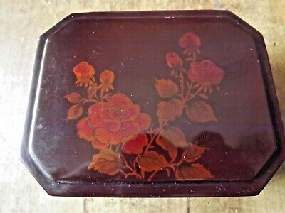Vintage Japanese Brown Lacquer Box with Red Roses on the Lid