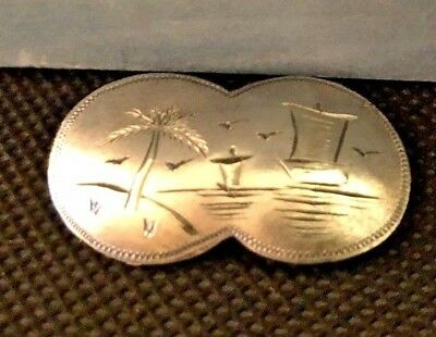 Antique Etched Silver Brooch Palm Tree Sail Boats Navajo Mexican Metal Petite