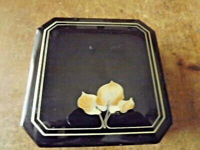 Vintage Japanese Black Lacquer Box with Three Leaves on the Lid