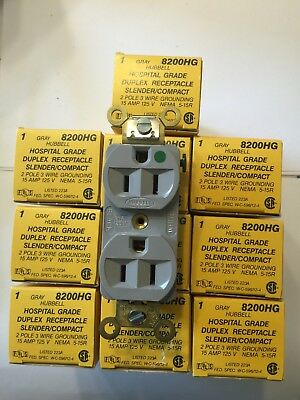 ** 10 Brand New** HUBBELL Hospital Grade 2 Pole 3 Wire 15 A Receptacle