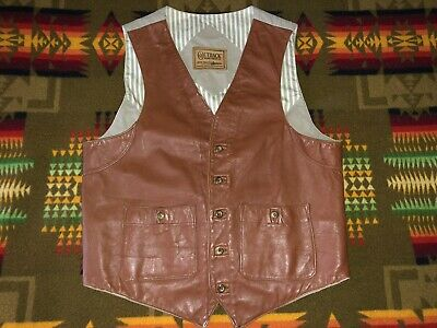 mens medium vintage Outback Trading aussie brown leather canvas western vest
