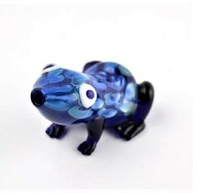 "3 "" Frog Toad Blue Pipe Bong Hookah Tobacco Smoking Small Glass Hand Herb Bowl"
