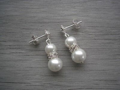 Pearl & Diamante Stud Drop Dangle Earrings for women girls bride Bridesmaid 57W