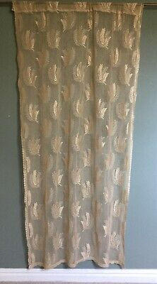 Antique Vintage Lace Curtain Panel Fern Design Early 20th Century