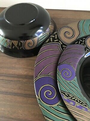 arcoroc tampico dinner set for one black 80s 90s pattern pyrex glass